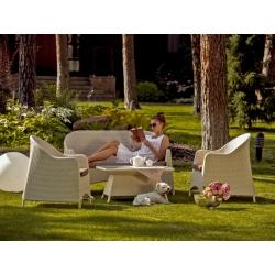 Комплект Cancun: диван (82*150*87) с подушкой, 2 кресла (78*77*87) с подушкой, столик со стеклянной столешницей (90*60*46,5)