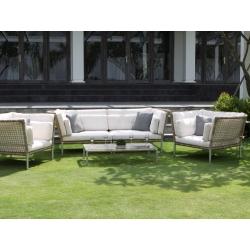 Диван и кофейный столик Casablanca. Диван: серый, с подушками, правый/левый модуль (124*100*80), столик (60*120*26)