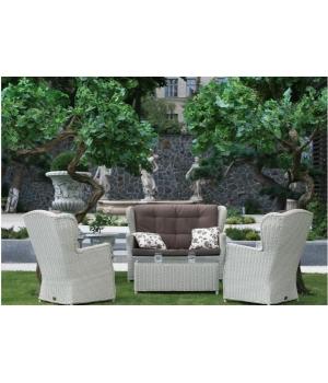 Комплект SIENA коричневый, диван (79*142*107), 2 кресла (79*79*107) и кофейный столик (80*40*40)