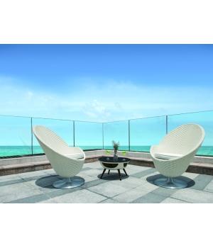Кресло Cocktail white белое, 84х79х95см, белое, крутящееся, левое/правое